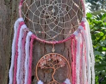 Featherless Cherry Quartz Tree of Life Dream Catcher/Nursery Decor/Wall Hanging