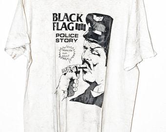 """Vintage Black Flag """"Police Story"""" t shirt"""
