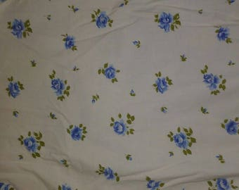 Vintage Twin Sheet Set Fitted & Flat Sheet Blue Floral