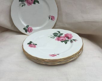 Vintage 1950s Set of 5 Bone China Side Plates by Ridgway Potteries in Queen Anne Design