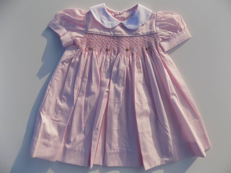 Smocked baby dress floral dress dress pink dress girl Peter Pan
