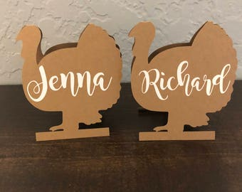 Turkey Placecards,Thanksgiving Table Setting, Turkey Name Cards, Turkey Shape, Thanksgiving Decor,Thanksiginvg place cards, turkey cut out