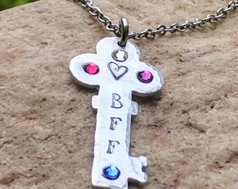 Best friend necklace, Best friend birthday, gift for best friend, Gift for bff, bff gifts, bff necklace, Key necklace, personalized