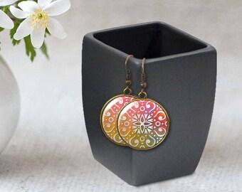 Bohemian earrings, Moroccan Tile earrings, Ethnic earrings, Boho jewelry, Abstract geometric earrings, Personalized, Wearable art, 5118-11