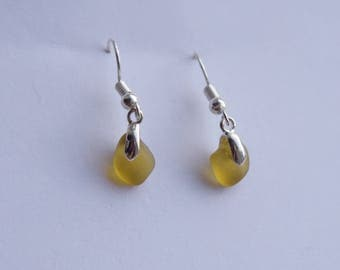 A unique pair of amber Sea glass earrings