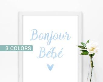 Hello baby, boy nursery prints, Blue nursery decor, Baby boy wall art, French nursery art