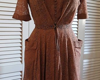 Original '40s dress, brown lace, party dress