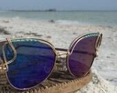 Oversized BLUE Cat Eye Reflective Sunglasses Women, Retro Sunglasses,l SPUNGLASSES, Artisan Indie Pop Mod Festival Sunglasses, Oversized