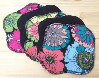 Ready to Ship 5-Pack, Reusable Cloth Pantyliner, Panty Liner, 100% Flannel, Floral Topper Backed with Black Color, Reversible