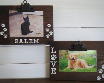 Pet Frame - Dog Picture Frame - Pet Picture Frame - Cat Picture Frame - Custom Pet Frame - Personalized Pet Frame - Wood Photo Board