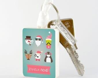 Porte-Clé en bois ''Joyeux Noël'' modèle 2