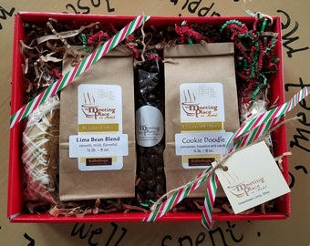 Holiday Gift Basket, Coffee Sampler, Gift for Mom, Gift for Dad, Coffee Gift Basket, For Her, For Him, Flavored Coffees and Biscotti