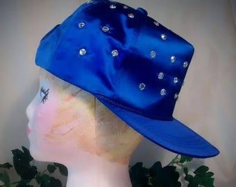 ON SALE Royal Blue Satin Vintage Baseball Hat with Crystals