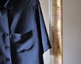 CACHAREL VINTAGE jacket Navy blue short / / tailored collar / / Made in France