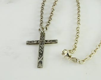 "Antique Sterling Cross on a 24"" Sterling Chain"