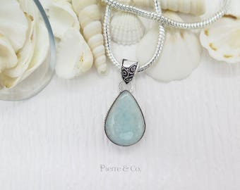 Antique Aquamarine Sterling Silver Pendant and Chain