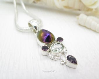 Purple Titanium Drusy White Topaz and Amethyst Sterling Silver Pendant and Chain