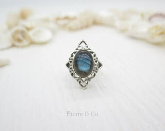 Antique Blue Fire Labradorite Sterling Silver Ring (Size 6.5)