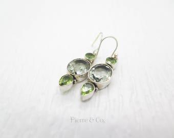 Green Amethyst and Peridot Sterling Silver Earrings