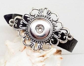 Leather Bracelet, Charm Bracelet, Brown Leather, Snap Jewelry, Noosa Bracelet, Women's Bracelet, Girl's Bracelet, Fits 18 - 20 mm Snap Charm