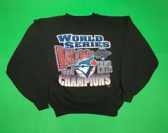 90s Toronto Blue Jays Crewneck - Vintage Blue Jays Crewneck - Vintage Blue Jays Sweater - Size: XL - 90s Toronto Blue Jays - World Champs