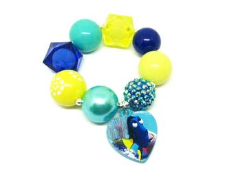 Finding Dory chunky bubblegum bracelet - Girls Dory stretch bracelet