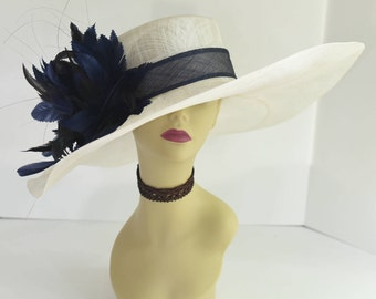 510 (Ivory/Navy) High Quality NEW Kentucky Derby Church Wedding Tea Party Sinamay Feather Flower Wide Brim Dress Hat
