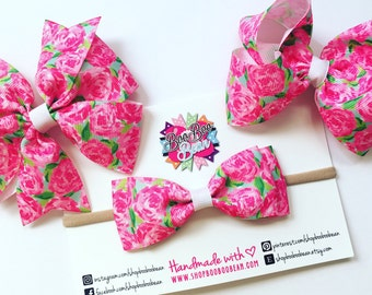 First Impression, Lilly Pulitzer Inspired Hair Bow, Lilly Pulitzer Bow, Lilly Bow, Lilly Pulitzer Inspired Ribbon, Buy 5 Get 1 Free