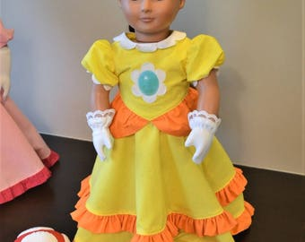 Fits American Girl Doll- like Princess Daisy Dress and Gloves