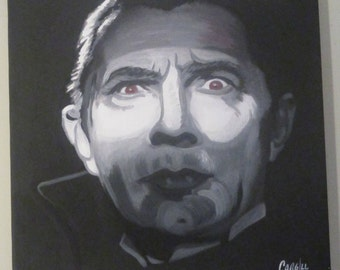 "Dracula Horror Pop Art Acrylic Painting 18""x18"" Cargill"