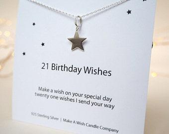 21st Birthday Gift, 21 Birthday Wishes Necklace, 21st Birthday Card, Twenty One, Birthday Present, Happy 21st Birthday, Make A Wish