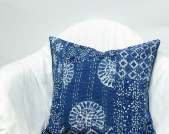 Indigo Handmade Kantha pillow cover,cushion cover,throw pillow, 16 x16 inches. Boho,Bohemian,India art and crafts,Indian handicrafts,