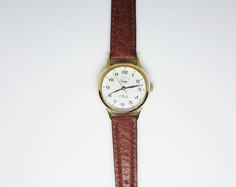 Erlanger Watch | 17 rubis watch | Mechanical Watch| Gold plated Watch w/ Leather band | Vintage Swiss made watch | Minimalist watch