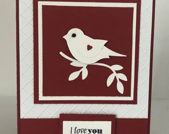 Valentine card, Happy Valentines Day, Love bird, Anniversary, Birthday, Just because, Fun Valentine, Hugs and Kisses, Handmade Greeting card