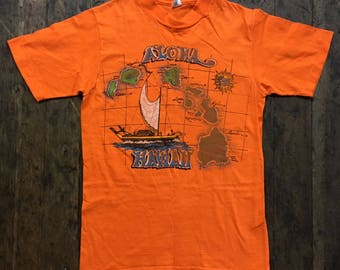 Vintage 1980s orange aloha hawaii sailboat and map tee shirt