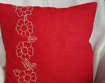 Decorative Pillow cover,Flowers ,Red,Leinen,Decorative Pillowcase,Unique,Special Gifts,Unique Gifts,Embroidery,Hand Stickers,Red Pillowcase