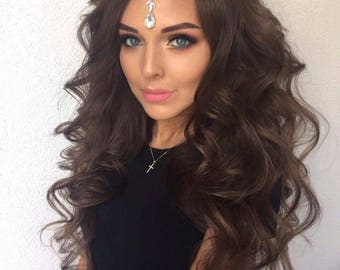 Indian Headpiece/Bridal Wedding Tikka/Bollywood/Crystal Hair Jewellery/Crystal Tikka Headpiece/Tikka Headpiece/Crystal Chain Headpiece