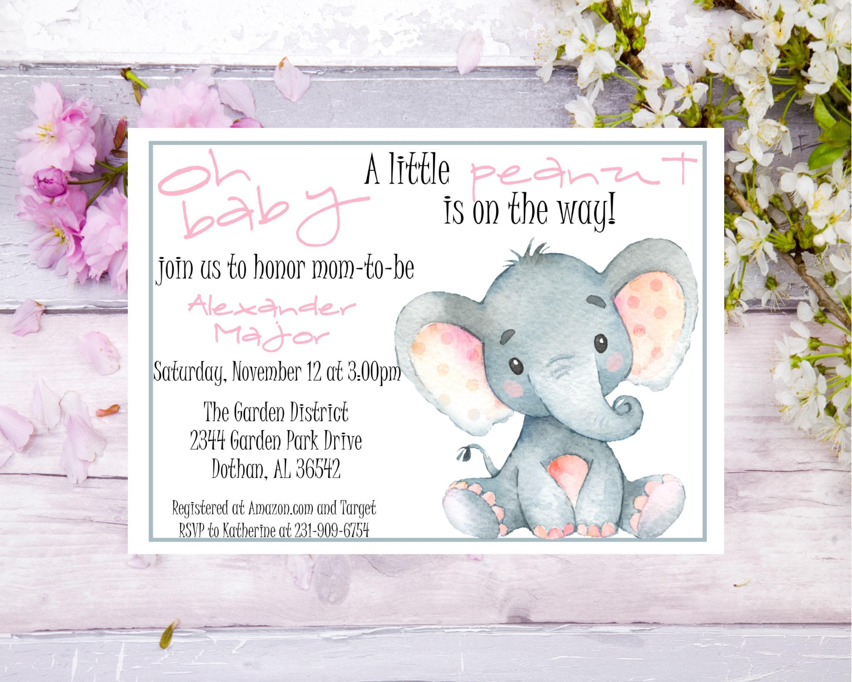 Elephant Baby Shower Invitation Elephant Watercolor Invitation