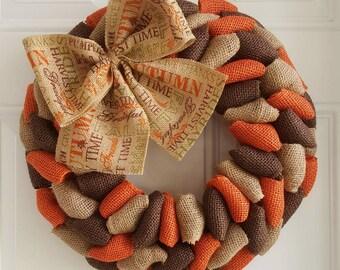 Fall wreath burlap wreath autumn wreath harvest wreath thanksgiving wreath primitive wreath Halloween wreath pumpkin wreath rustic wreath