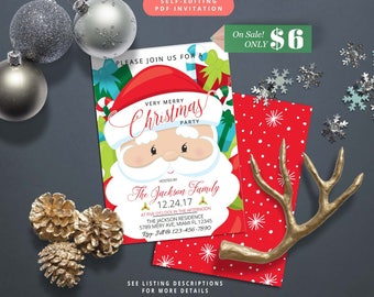 Christmas Party Invitation-Self-Editing-Holiday Party Invite-Printable Holiday Party Invitation-Winter Party-Christmas Dinner Invite-609-1