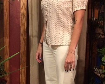 70's beige short sleeve button down shirt
