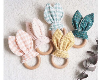 Bunny ears rattle and natural wooden teething ring