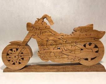 Wooden Motorcycle Jigsaw Puzzle