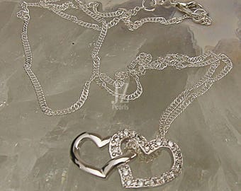 Sterling Silver Double Heart Crystal Studded Heart Pendant on an 18 inch  Sterling Silver Twisted Chain