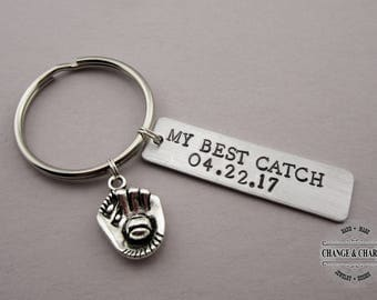 My Best Catch Mitt Keychain, Hand Stamped Custom Keychain, Gift for Husband, Gift for Boyfriend, Anniversary Gift, Custom Keychain, Baseball