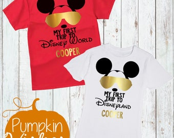 Disney Shirt/First Trip to Disney Shirt /Mickey with Sunglasses/First Disney Trip Shirt/BoyDisney Shirt/ Disneyworld Trip Shirt