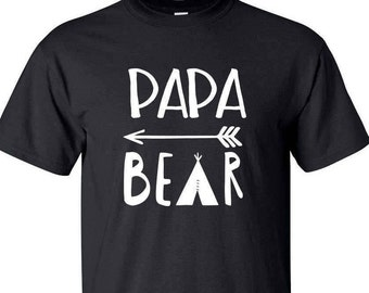 PAPA BEAR shirt - 100% cotton tee - Black red or blue ultra cotton tee - white print other prints available just ask! - Papa Bear Tshirt -