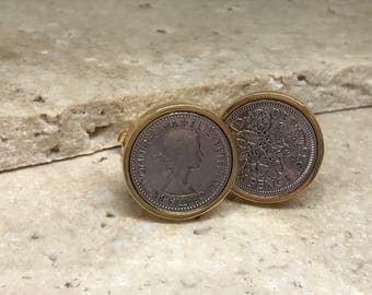 1953  Lucky Sixpence Coin Cufflinks - 65th birthday gift -  gold