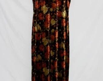 Vintage Floral Velvet Dress // 90s Maxi length sleeveless dress // Perfect fall colored dress // Size 12