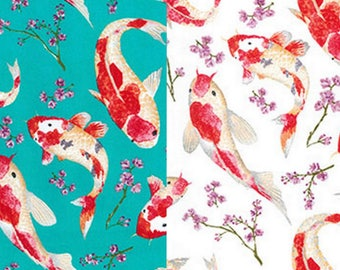 Koi fish print etsy for Koi fish print fabric